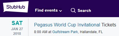 Pegasus World Cup Tickets